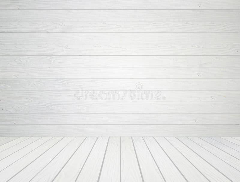 Άσπρος ξύλινος τοίχος και ξύλινο υπόβαθρο πατωμάτων στοκ φωτογραφία
