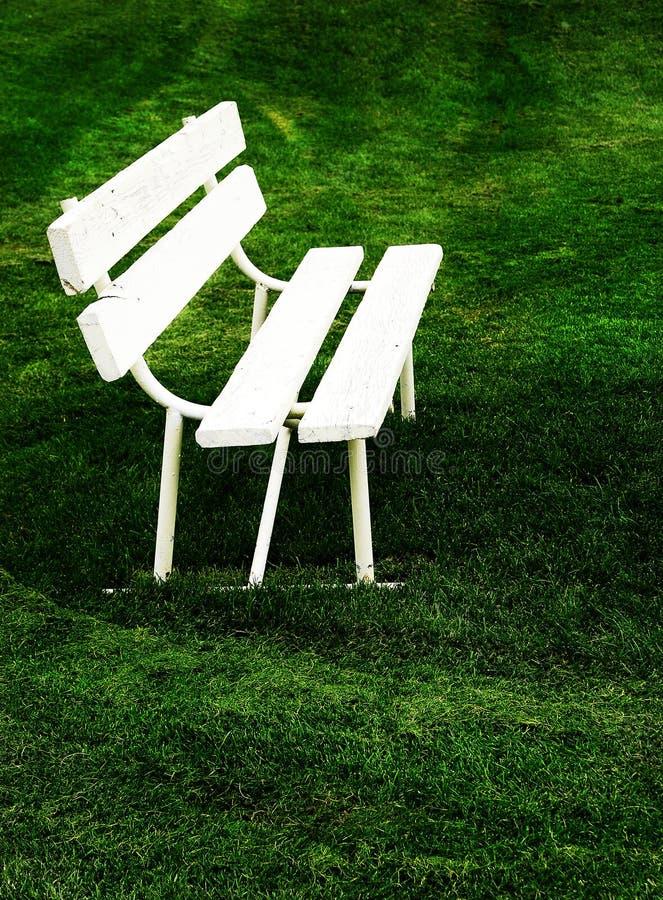 Άσπρος πάγκος πάρκων στην πράσινη χλόη στοκ εικόνες με δικαίωμα ελεύθερης χρήσης