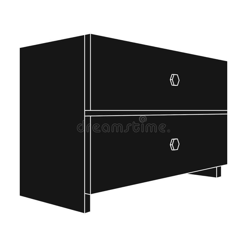 Άσπρος πίνακας πλευρών με δύο συρτάρια Εξαρτήματα δωματίων για όλα τα είδη των πραγμάτων Ενιαίο εικονίδιο επίπλων κρεβατοκάμαρων  ελεύθερη απεικόνιση δικαιώματος