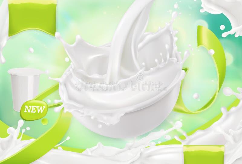 Άσπρος παφλασμός κρέμας Γιαούρτι, ξινή κρέμα, σάλτσα τρισδιάστατο διάνυσμα διανυσματική απεικόνιση