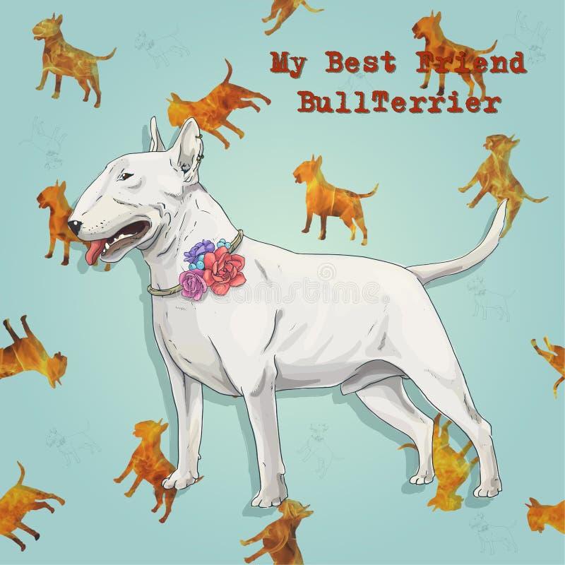 Άσπρος πιό bullterrier στη σύσταση σκυλιών πυρκαγιάς στοκ εικόνες με δικαίωμα ελεύθερης χρήσης