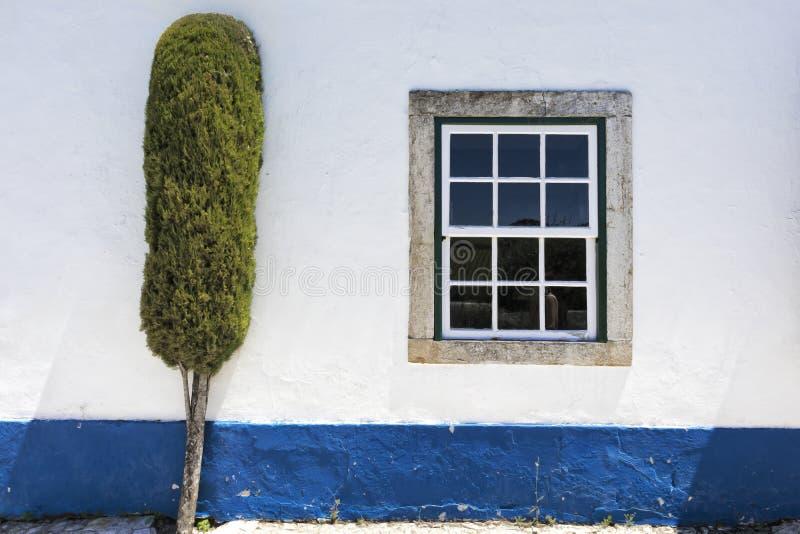 Άσπρος τοίχος με το μπλε λωρίδα, το παράθυρο και το δέντρο στοκ φωτογραφία