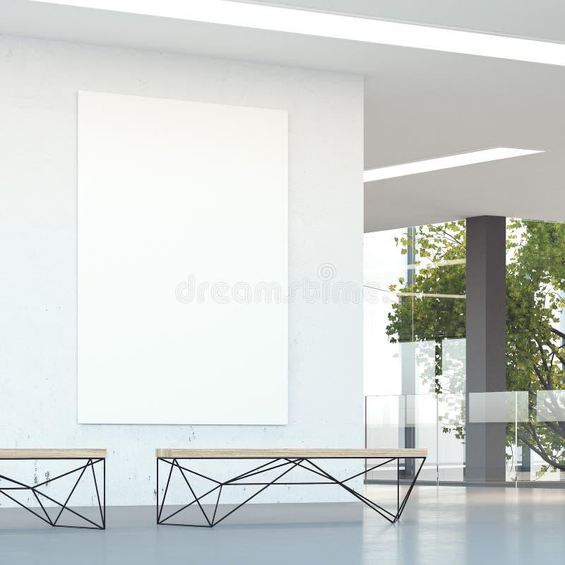 Άσπρος τοίχος στη σύγχρονη αίθουσα γραφείων τρισδιάστατη απόδοση στοκ εικόνα