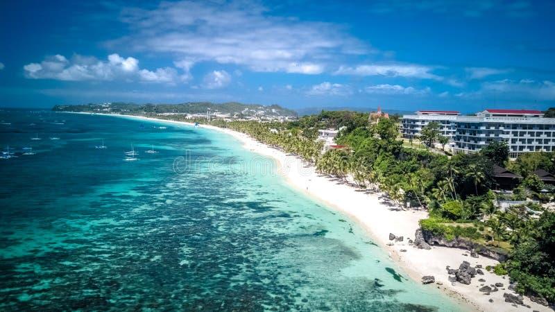 Άσπρος τροπικός παράδεισος Ασία των Φιλιππινών νησιών Boracay παραλιών στοκ εικόνα με δικαίωμα ελεύθερης χρήσης