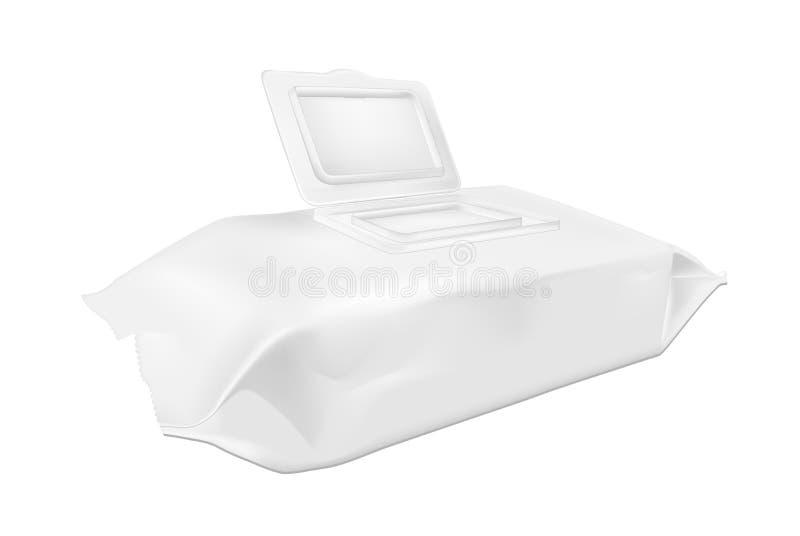 Άσπρος υγρός σκουπίζει τη συσκευασία με το ανοικτό χτύπημα απεικόνιση αποθεμάτων