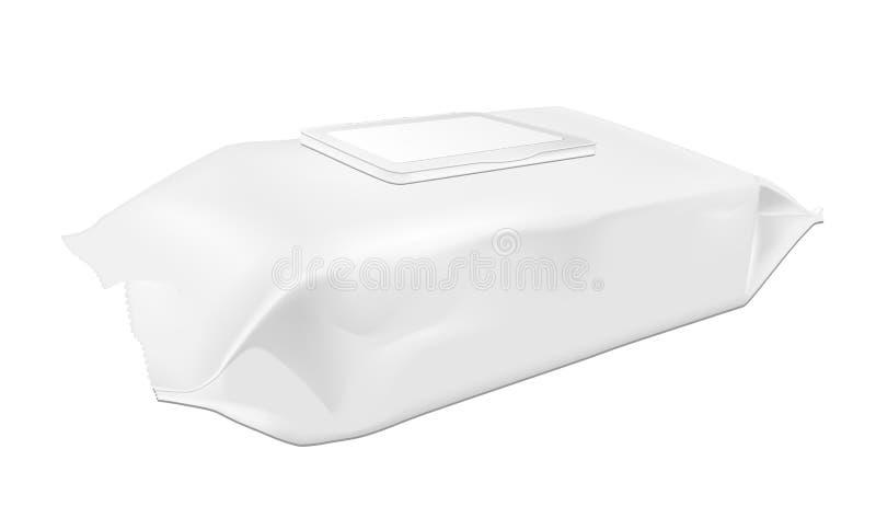 Άσπρος υγρός σκουπίζει τη συσκευασία με το χτύπημα απεικόνιση αποθεμάτων