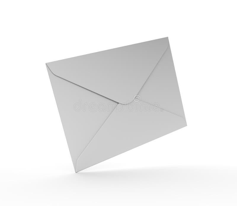 Άσπρος φάκελος ταχυδρομείου στην άσπρη ανασκόπηση διανυσματική απεικόνιση