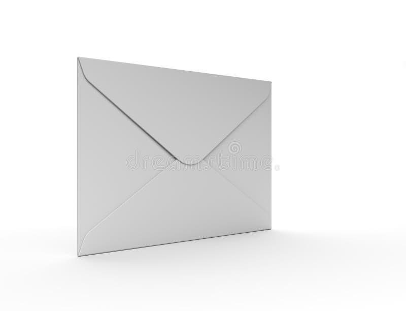 Άσπρος φάκελος ταχυδρομείου στην άσπρη ανασκόπηση ελεύθερη απεικόνιση δικαιώματος