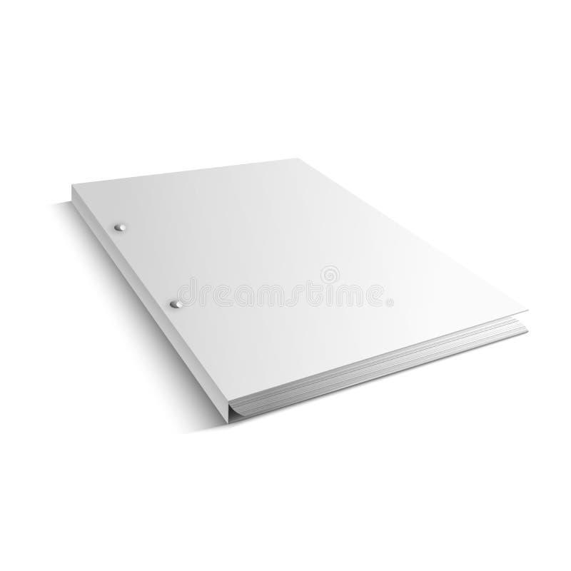 Άσπρος φάκελλος με την κενή τιμητικοη κάλυψη - διάνυσμα διανυσματική απεικόνιση
