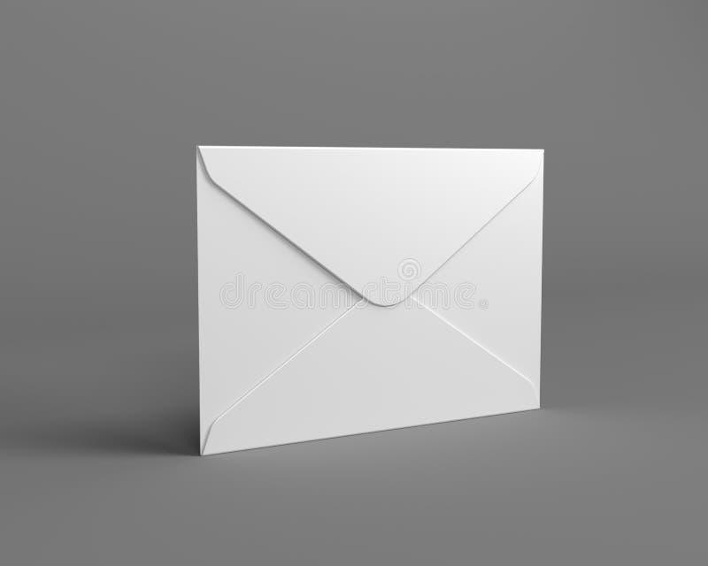 Άσπρος φάκελος ταχυδρομείου στο γκρίζο υπόβαθρο ελεύθερη απεικόνιση δικαιώματος