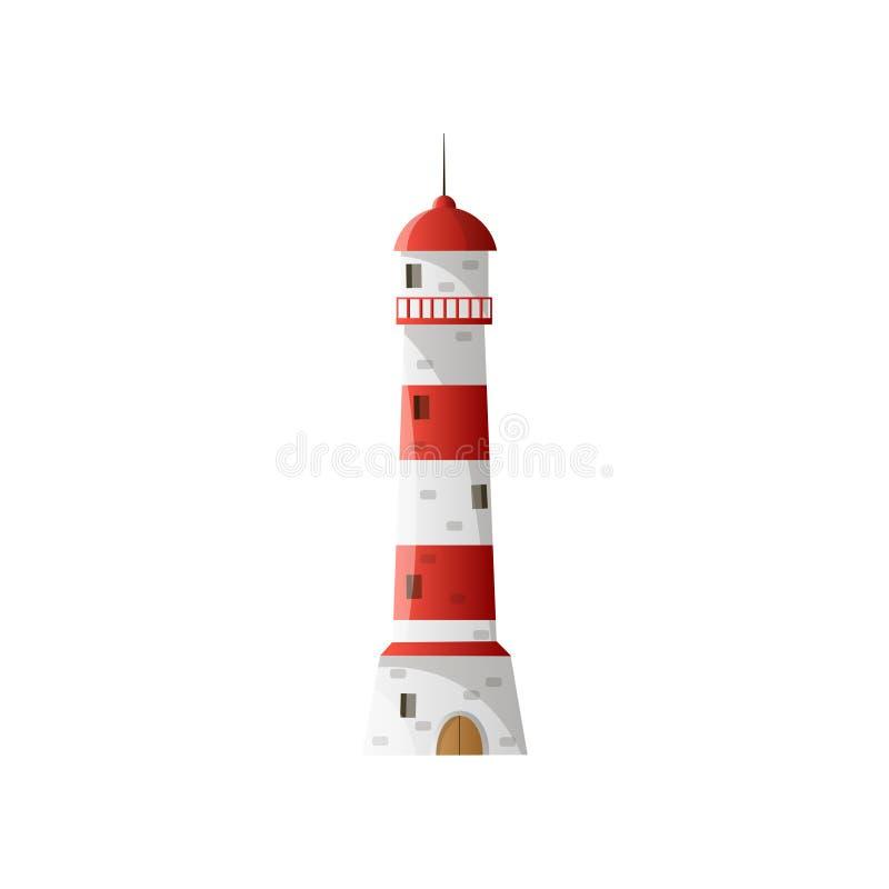 Άσπρος φάρος με τη σκιά, ευρέως κόκκινα οριζόντια λωρίδες στο επίπεδο σχέδιο ελεύθερη απεικόνιση δικαιώματος