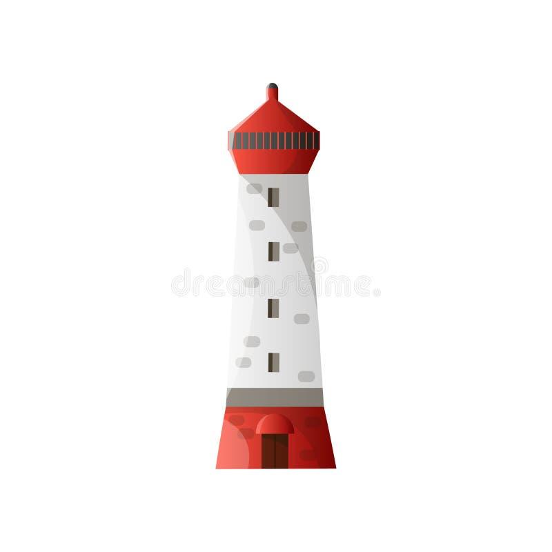Άσπρος φάρος με τη σκιά, την κόκκινα στέγη και το ίδρυμα στο επίπεδο σχέδιο που απομονώνεται στο άσπρο υπόβαθρο διανυσματική απεικόνιση