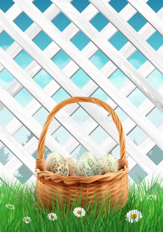 Άσπρος φράκτης κήπων με τη χλόη καλαθιών Πάσχας και τα λουλούδια, υπόβαθρο άνοιξη απεικόνιση αποθεμάτων
