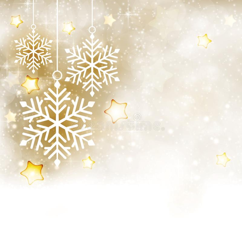Άσπρος χρυσός χειμώνας, υπόβαθρο Χριστουγέννων με snowflakes και ST ελεύθερη απεικόνιση δικαιώματος