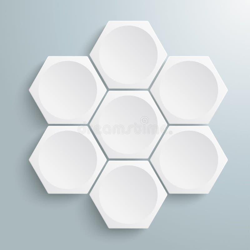 6 άσπρος Hexagons κύκλος ελεύθερη απεικόνιση δικαιώματος