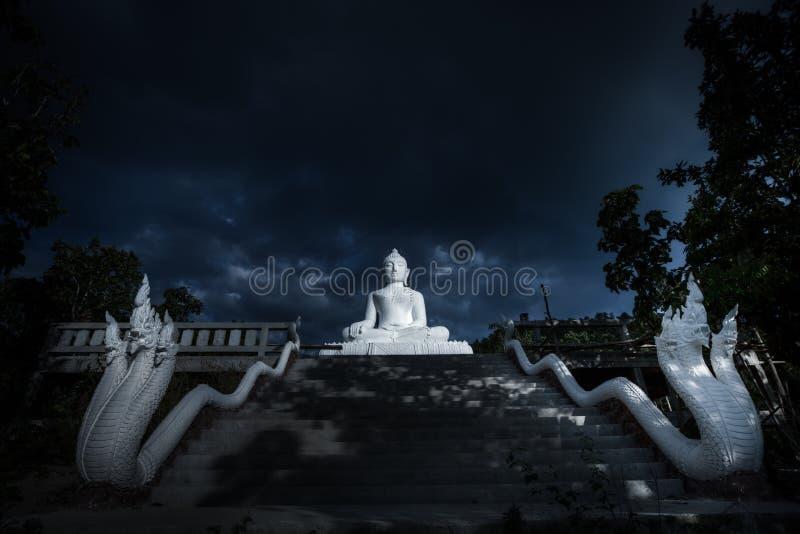Άσπρο άγαλμα του Βούδα τη νύχτα στοκ εικόνες