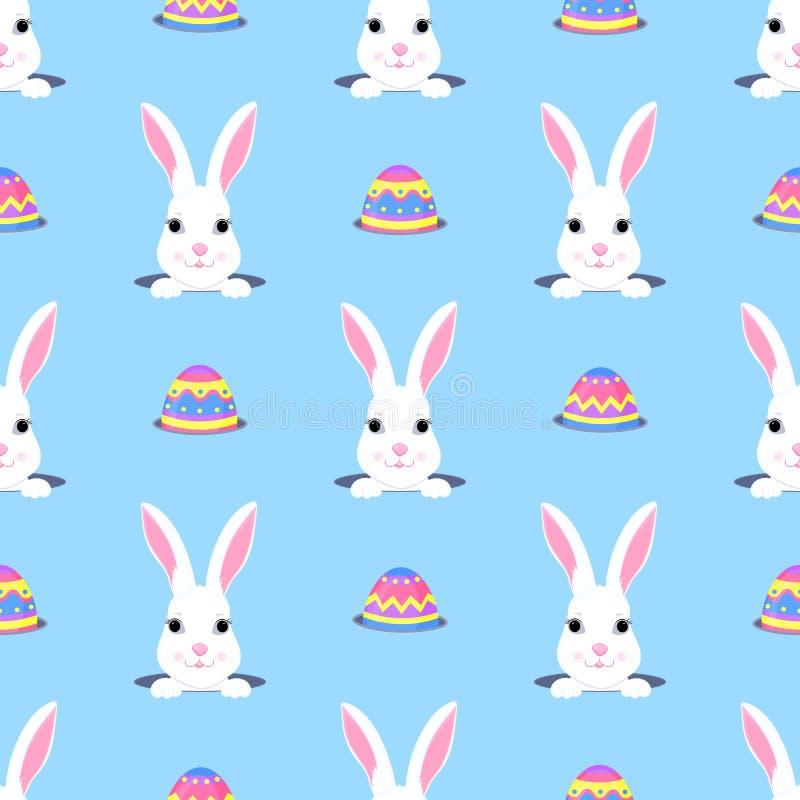 Το χαριτωμένο λαγουδάκι κοιτάζει από την τρύπα Κυνήγι αυγών Πάσχας Άσπρο άνευ ραφής σχέδιο χαρακτήρα κινουμένων σχεδίων κουνελιών απεικόνιση αποθεμάτων