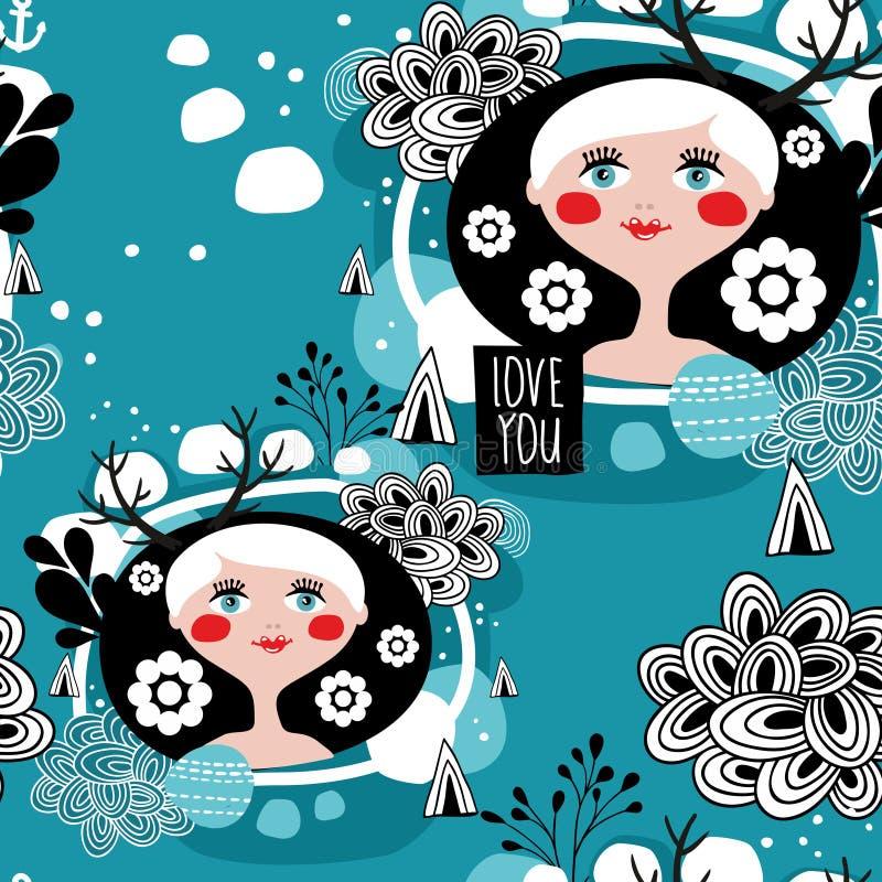 Άσπρο άνευ ραφής σχέδιο κοριτσιών τρίχας Σκανδιναβικό απεικόνιση αποθεμάτων