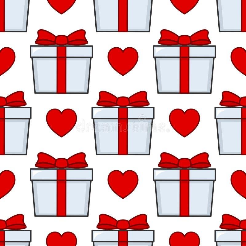 Άσπρο άνευ ραφής σχέδιο κορδελλών δώρων κόκκινο ελεύθερη απεικόνιση δικαιώματος