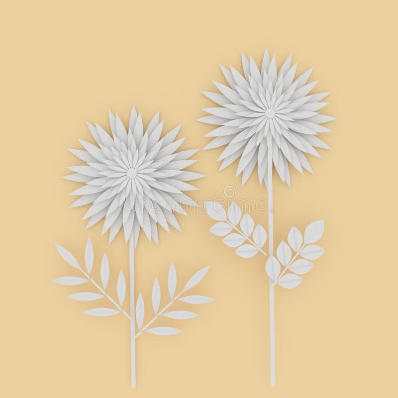 Άσπρο έγγραφο λουλουδιών για το κίτρινο υπόβαθρο στην τρισδιάστατη απόδοση ελεύθερη απεικόνιση δικαιώματος