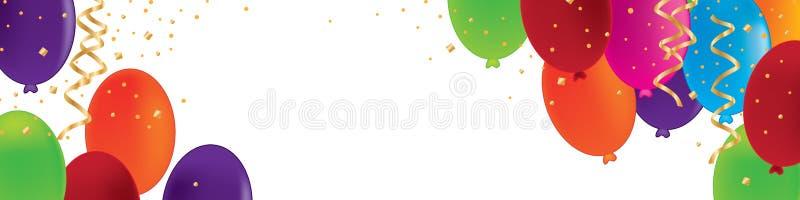 Άσπρο έμβλημα εορτασμού κορδελλών κομφετί μπαλονιών διανυσματική απεικόνιση