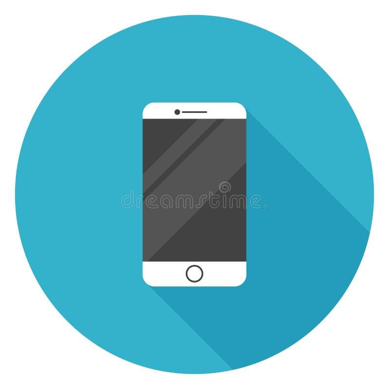 Άσπρο έξυπνο τηλεφωνικό εικονίδιο στο επίπεδο σχέδιο διανυσματική απεικόνιση