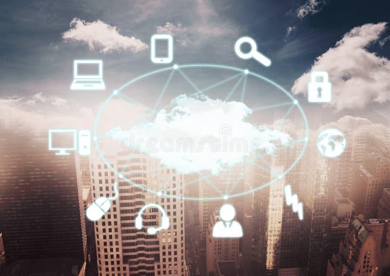 Άσπρο δίκτυο ενάντια στο μουτζουρωμένο ορίζοντα με τα σύννεφα στοκ εικόνες με δικαίωμα ελεύθερης χρήσης