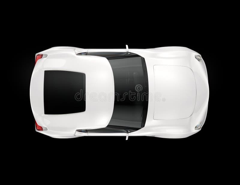 Άσπρο αθλητικό αυτοκίνητο που απομονώνεται στο μαύρο υπόβαθρο διανυσματική απεικόνιση