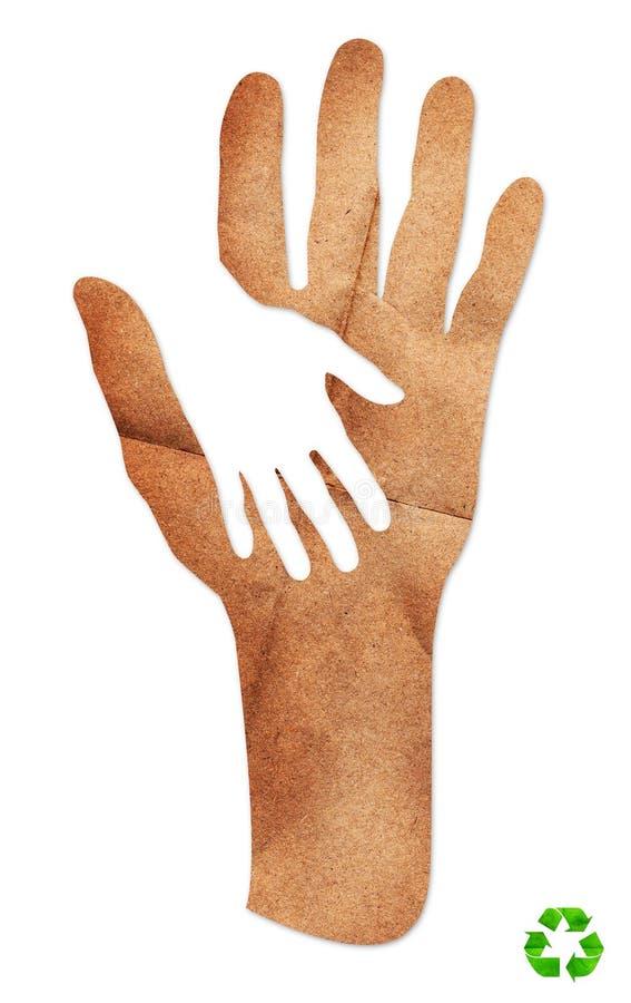 Άσπρο ανακύκλωσης σημάδι τεχνών εγγράφου προσοχής χεριών διανυσματική απεικόνιση