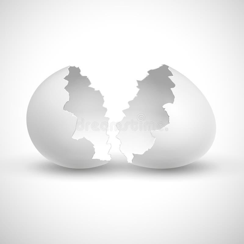 Άσπρο ανοιγμένο Πάσχα με σπασμένη την κοχύλι απομονωμένη διανυσματική απεικόνιση απεικόνιση αποθεμάτων