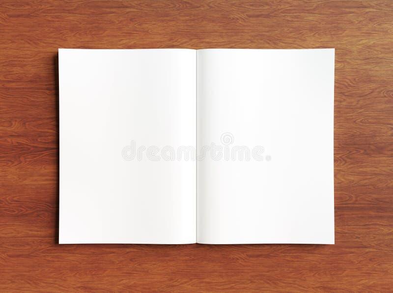 Άσπρο ανοικτό πρότυπο περιοδικών στην ξύλινη τρισδιάστατη απόδοση απεικόνιση αποθεμάτων