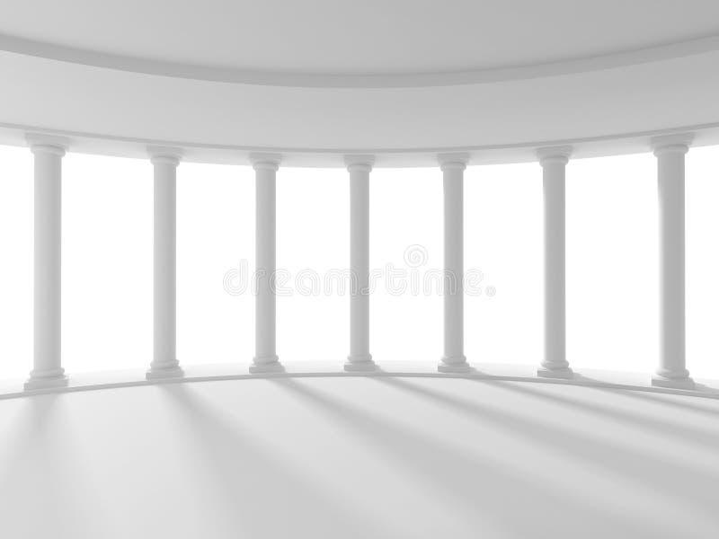 Άσπρο αρχαίο υπόβαθρο αρχιτεκτονικής στηλών διανυσματική απεικόνιση