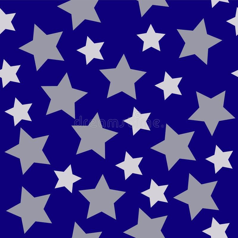 Άσπρο ασήμι αστεριών Χριστουγέννων στο σκούρο μπλε υπόβαθρο νύχτας seaml απεικόνιση αποθεμάτων