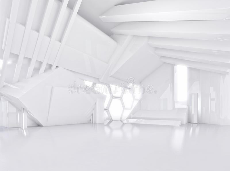Άσπρο αφηρημένο εσωτερικό του σύγχρονου ανοιχτού χώρου διανυσματική απεικόνιση