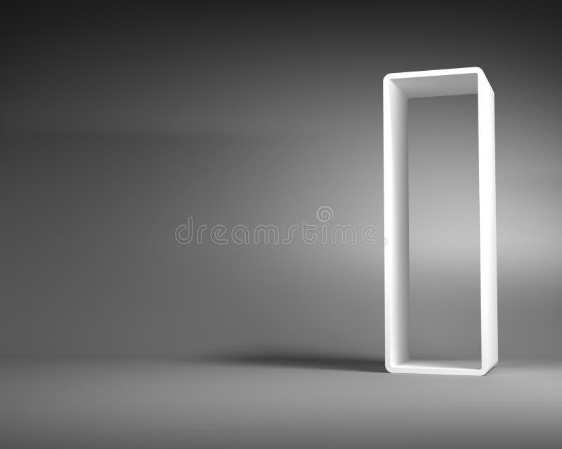 Άσπρο αφηρημένο πλαίσιο ορθογωνίων που στέκεται στο γκρίζο δωμάτιο απεικόνιση αποθεμάτων