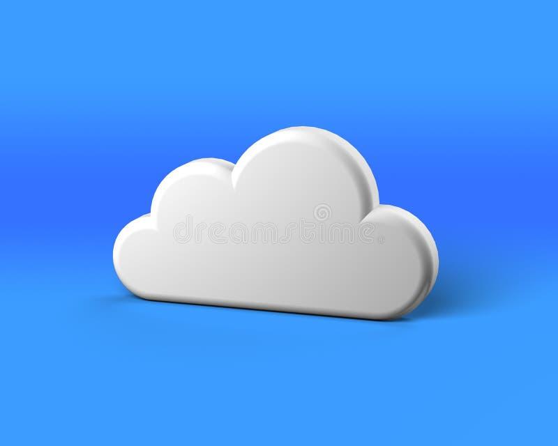 Άσπρο αφηρημένο σύννεφο στην μπλε ανασκόπηση διανυσματική απεικόνιση
