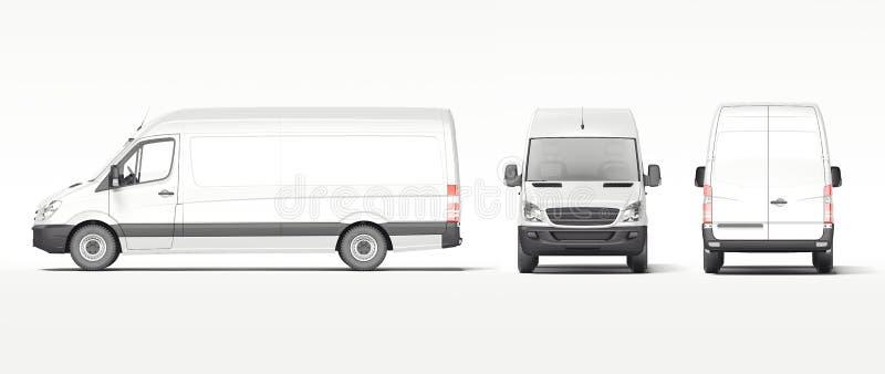 Άσπρο βιομηχανικό φορτηγό που απομονώνεται στο φωτεινό υπόβαθρο τρισδιάστατη απόδοση διανυσματική απεικόνιση