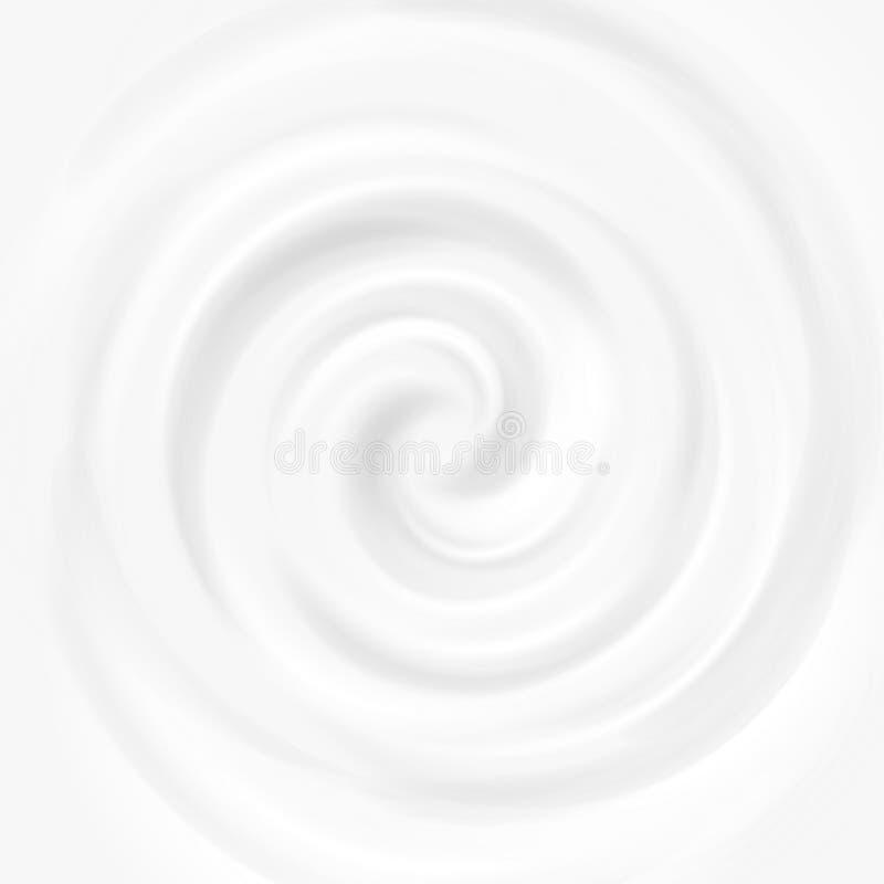 Άσπρο γάλα, γιαούρτι, διανυσματική απεικόνιση κρέμας στροβίλου προϊόντων καλλυντικών απεικόνιση αποθεμάτων