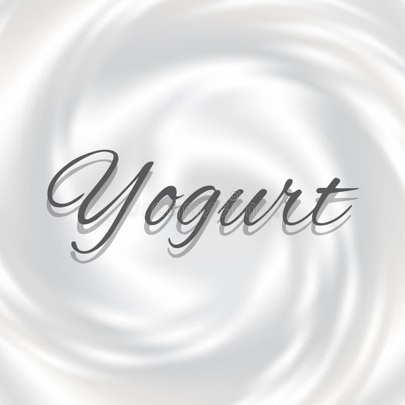 Άσπρο γάλα, γιαούρτι, διανυσματική απεικόνιση κρέμας στροβίλου προϊόντων καλλυντικών Mousse δίνη και υπόβαθρο δίνης διανυσματική απεικόνιση