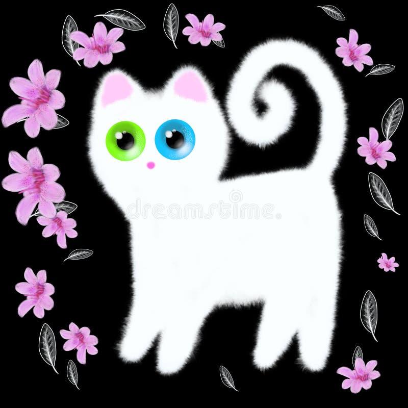 Άσπρο γατάκι με τα πολύχρωμα μάτια σε ένα μαύρο υπόβαθρο στοκ φωτογραφίες