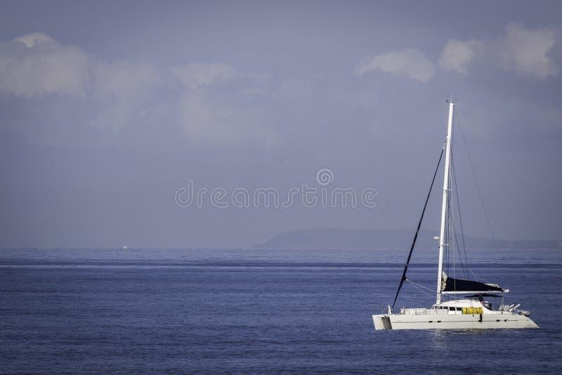Άσπρο γιοτ καταμαράν που πλέει τις ήρεμες μπλε θάλασσες στοκ εικόνες