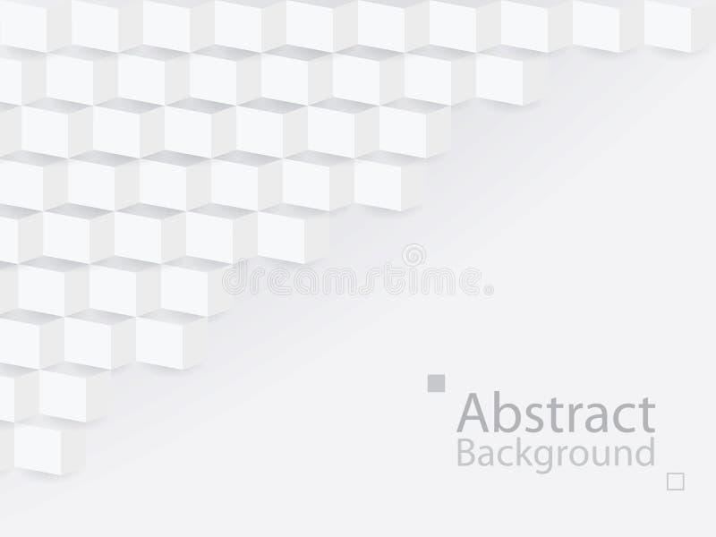 Άσπρο γκρίζο αφηρημένο τετραγωνικό τρισδιάστατο σύγχρονο έγγραφο υποβάθρου απεικόνιση αποθεμάτων
