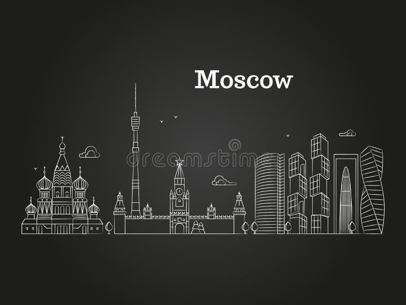 Άσπρο γραμμικό Ρωσία ορόσημο της Μόσχας, διανυσματικό πανόραμα με τα σοβιετικά κτήρια στο μαύρο υπόβαθρο απεικόνιση αποθεμάτων