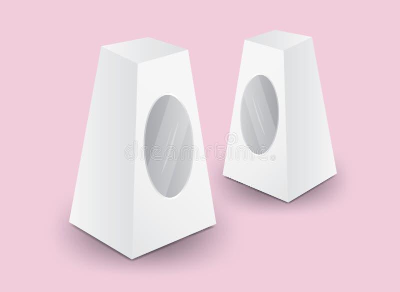 Άσπρο διάνυσμα κιβωτίων συσκευασίας, σχέδιο συσκευασίας, τρισδιάστατο κιβώτιο, σχέδιο προϊόντων, ρεαλιστική συσκευασία για το καλ διανυσματική απεικόνιση