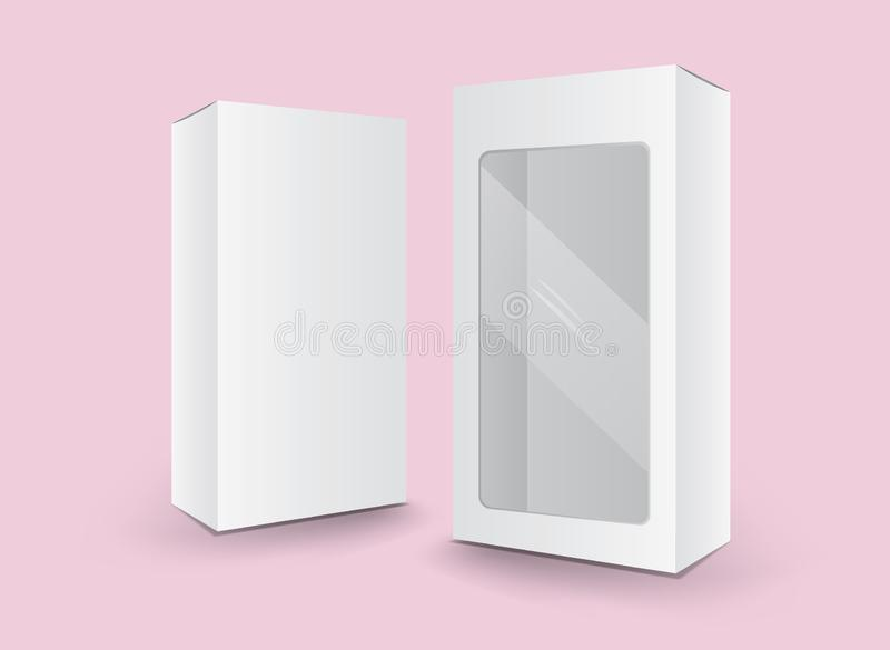 Άσπρο διάνυσμα κιβωτίων συσκευασίας, σχέδιο συσκευασίας, τρισδιάστατο κιβώτιο, σχέδιο προϊόντων, ρεαλιστική συσκευασία απεικόνιση αποθεμάτων