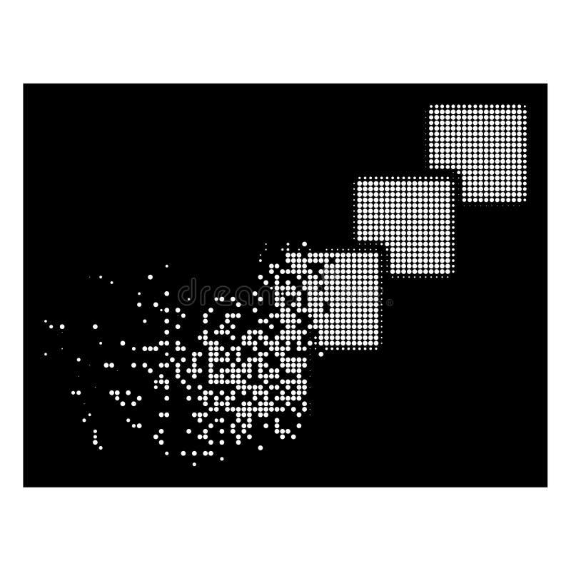 Άσπρο διαλυμένο εικονίδιο Blockchain σημείων ημίτονο διανυσματική απεικόνιση