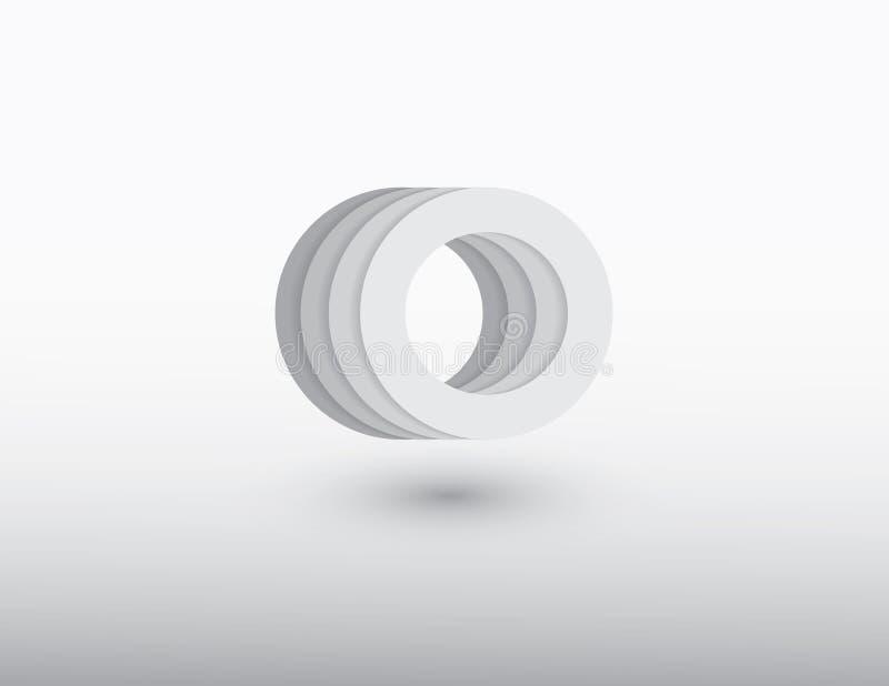Άσπρο διανυσματικό λογότυπο μορφής κύκλων με τις αντανακλάσεις και σκίαση στο ελαφρύ υπόβαθρο απεικόνιση αποθεμάτων