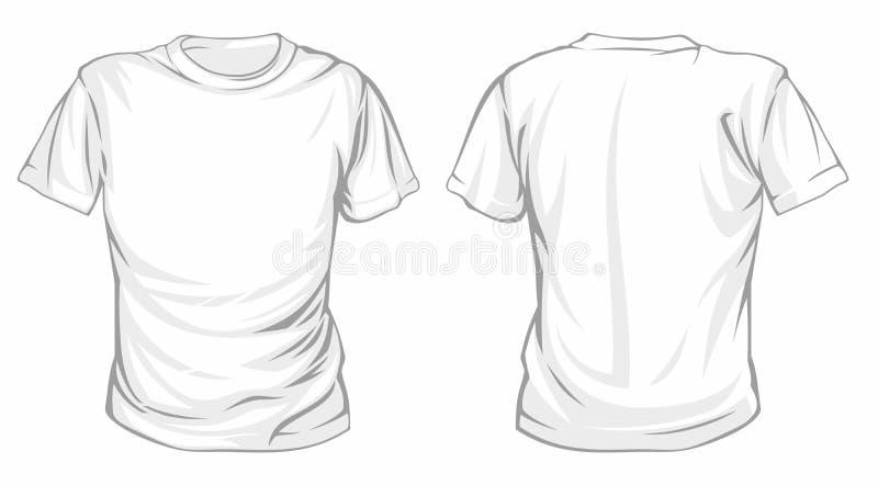 Άσπρο διανυσματικό πρότυπο μπλουζών Μπροστινό και πίσω πρότυπο άποψης στοκ φωτογραφία με δικαίωμα ελεύθερης χρήσης
