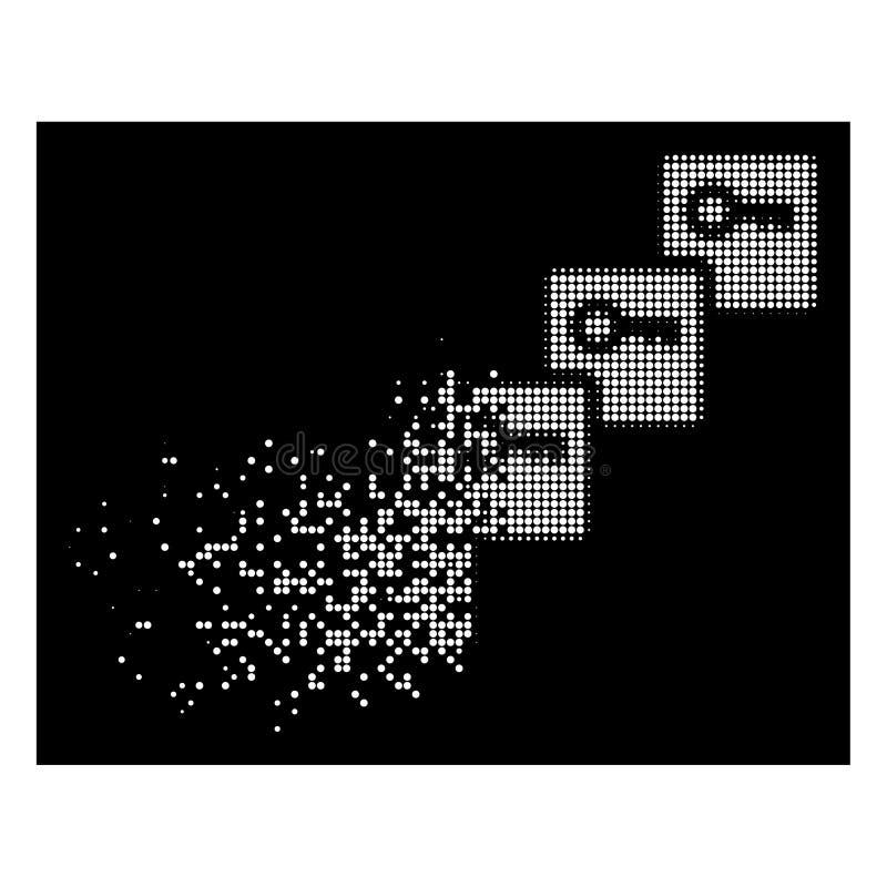 Άσπρο διασκορπισμένο εικονίδιο Blockchain εικονοκυττάρου ημίτονο βασικό ελεύθερη απεικόνιση δικαιώματος