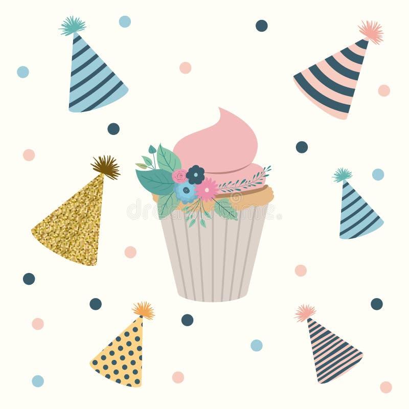 Άσπρο διαστιγμένο υπόβαθρο με τα διακοσμητικά σύνολα καπέλων κομμάτων και cupcake στο κέντρο διανυσματική απεικόνιση